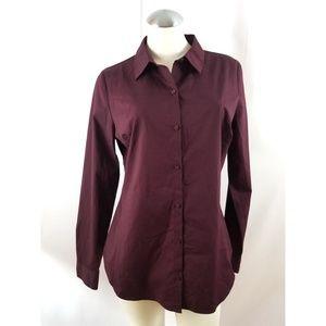 Worthington Size 14 Burgundy Button Down Shirt Top